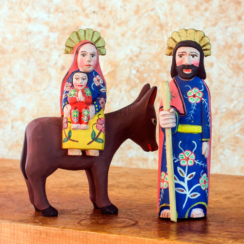 2 Hand Carved Wood Sculptures of the Holy Family 'Flight to Egypt'