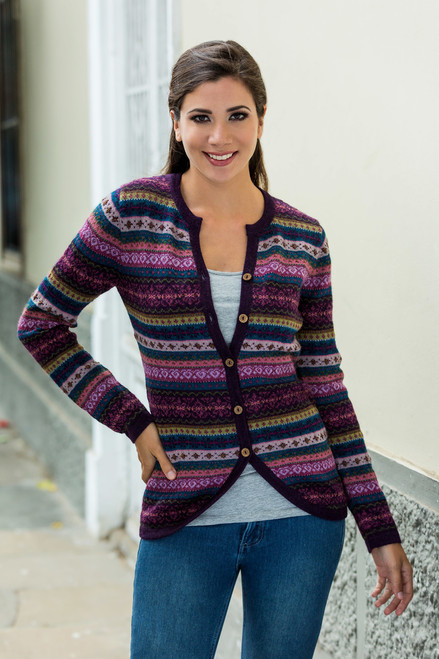Purple Pink Alpaca Cardigan with Geometric Patterns 'Berry Style'