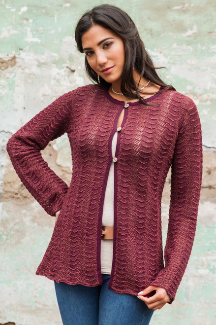 Andes Deep Red 100% Alpaca Women's Cardigan Sweater 'Cherry Tide'
