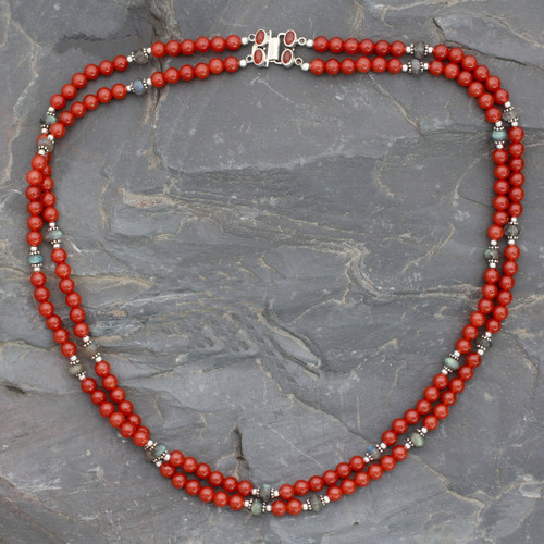 Double Carnelian Strand Beaded Necklace with Labradorite 'Bright Hopes'