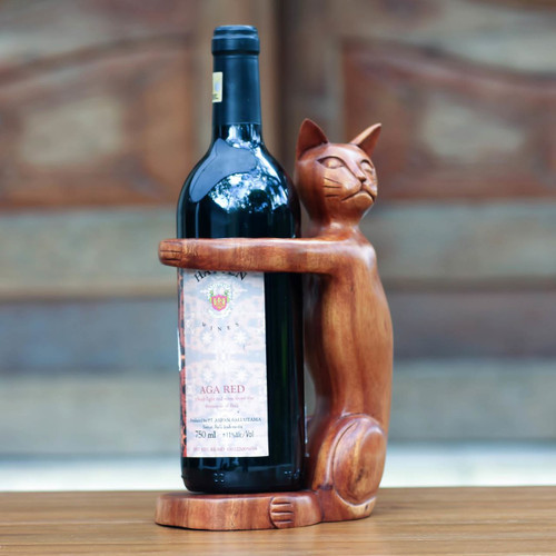 Hand Carved Wooden Cat Wine Bottle Holder 'Wine-Loving Cat'