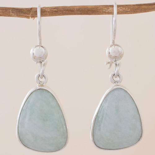 Handcrafted Sterling Silver Apple Green Jade Earrings 'Apple Green'
