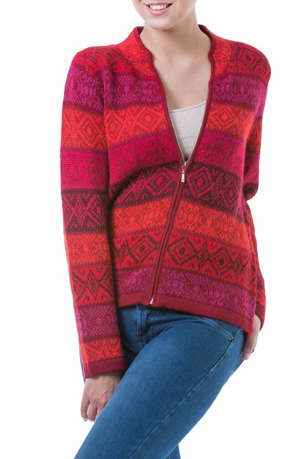 Red Patterned Women's Alpaca Zipper Cardigan Sweater 'Roses'