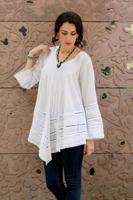 White Hand Embroidered Long Cotton Smock 'Amethi Princess'