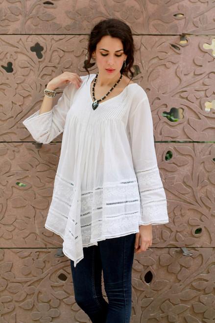 White Hand Embroidered Long Cotton Smock 'Amethi Princess'