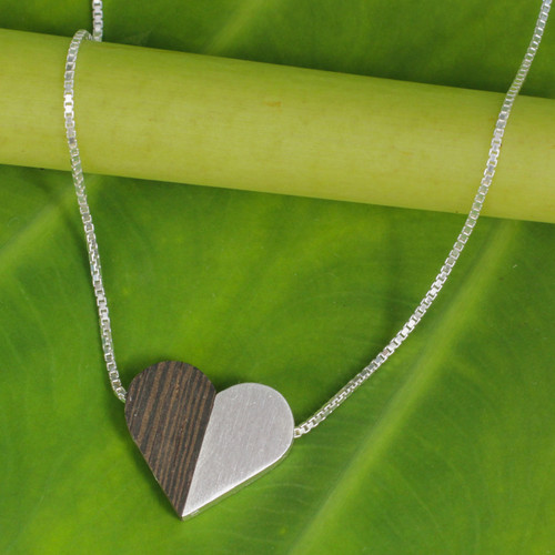 Indian Elm Wood and Sterling Silver Heart Necklace 'Together Heart'