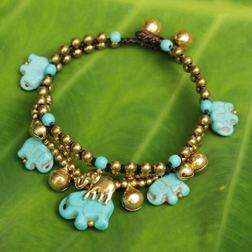 Handcrafted Bead Bracelet with Blue Elephant Charms 'Blue Elephant'