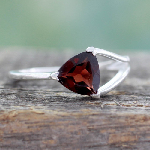 Triangle-Cut Natural Garnet Solitaire Ring from India 'Mystic Triangle'