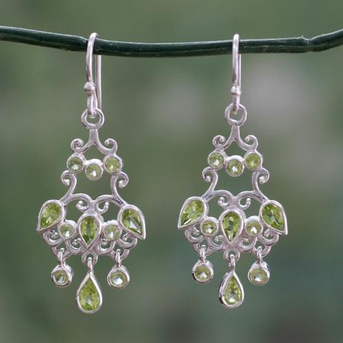 Handcrafted 7 Carat Peridot Chandelier Earrings 'Spring Dance'