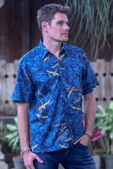 Blue Handmade Men's Woven Cotton Batik Shirt from Bali 'Indigo Birds'