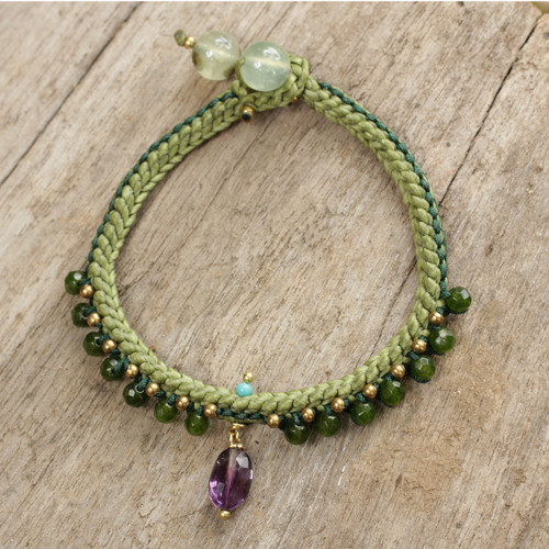 Braided Cord Bracelet with Quartz, Amethyst, and Prehnite 'Mae Sa Jungle'