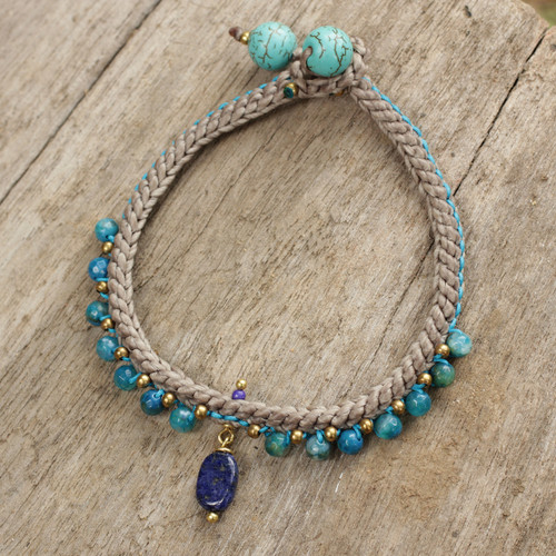 Lapis Lazuli and Agate Braided Bracelet with Brass Beads 'Mae Sa Cascade'