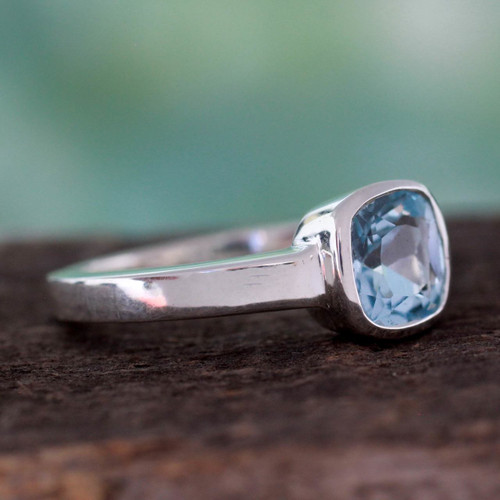 Hand Crafted Sterling Silver Single Stone Blue Topaz Ring 'Majestic Azure'