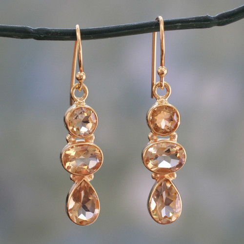 22k Gold Plated Dangle Earrings with Citrine Gems 'Golden Dazzle'