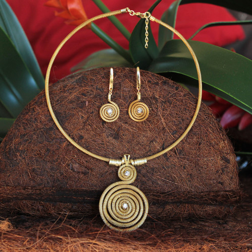 Handcrafted Golden Grass Necklace and Earrings Jewelry Set 'Jalapão Evolution II'