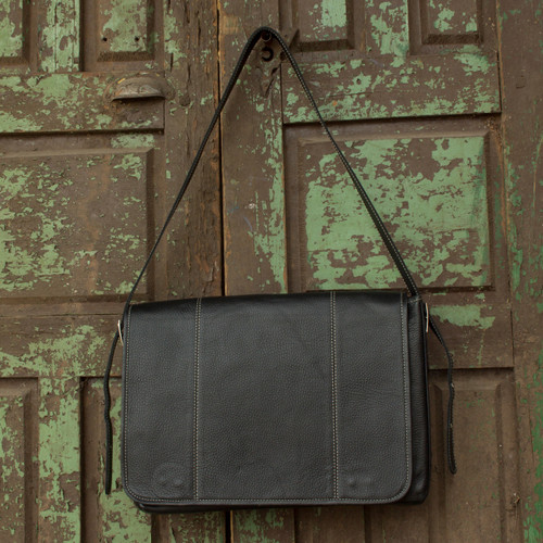 Handmade Black Leather Professional Style Modern Briefcase 'Success'