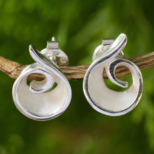 Original Artisan Designed Sterling Silver Button Earrings 'Frosted Swirl'