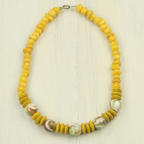 Yellow Agate and Wood Beaded Necklace from Ghana 'Bold Sunshine'