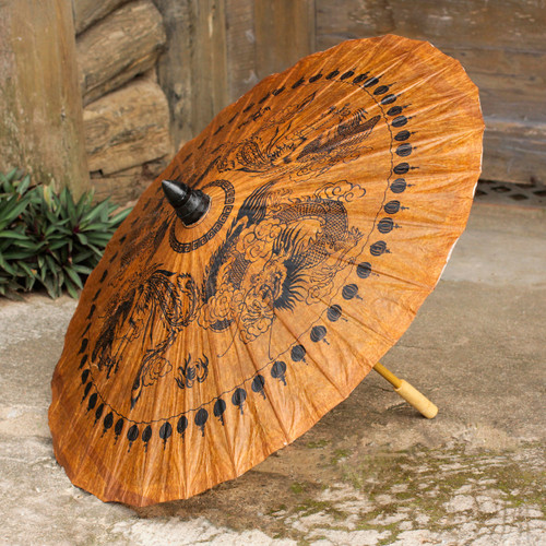 Decorative Thai Parasol Hand Crafted with Paper and Bamboo 'Dragons and Phoenixes'