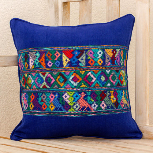 Blue Bird Theme Maya Backstrap Woven Cotton Cushion Cover 'Quiche Birds'