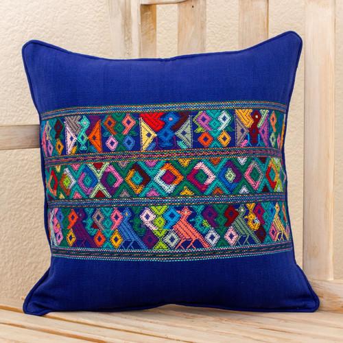 Blue Bird Theme Maya Backstrap Woven Cotton Cushion Cover 'Quiche Birds'