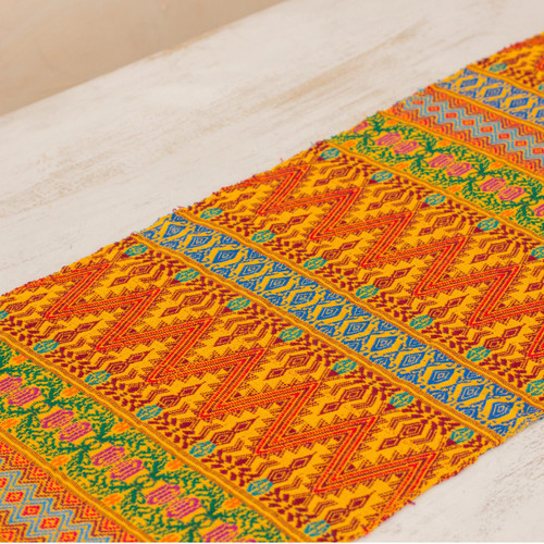 Maya Handwoven Table Runner in Yellow and Multicolor Cotton 'Golden Guatemala'