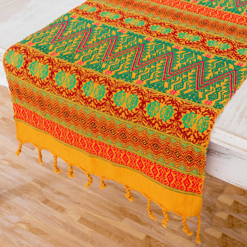 Maya Handwoven Table Runner in Mustard, Green and Red 'Guatemala Warmth'