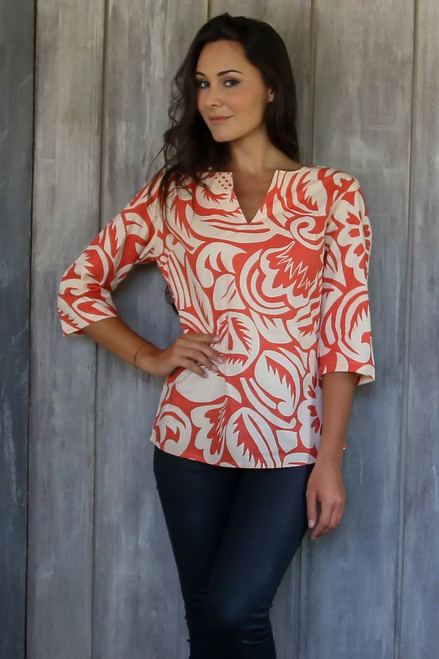 Handcrafted Orange and Cream Tunic from Bali 'Alexia in Persimmon'