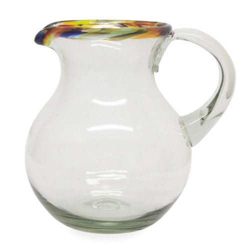 Colorful Handcrafted Mexican Blown Glass Pitcher (84 oz) 'Confetti Path'