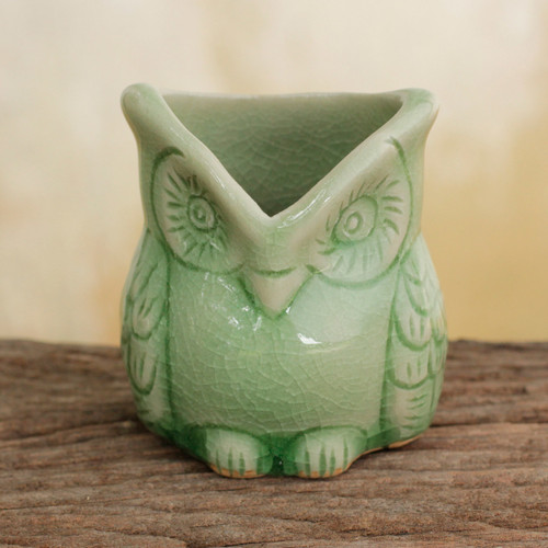 Handcrafted Green Thai Celadon Bird Theme Toothpick Pot 'Happy Green Owl'