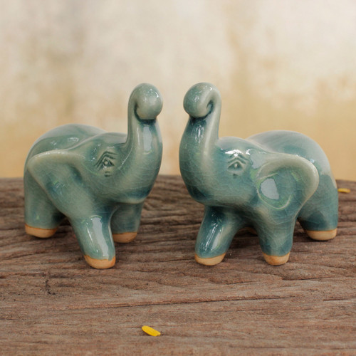 2 Blue Celadon Ceramic Handcrafted Lucky Elephant Figurines 'Lucky Blue Elephants'