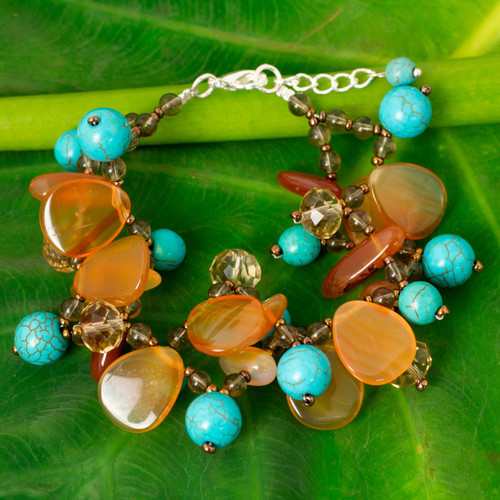 Turquoise Calcite and Carnelian Bracelet with Smoky Quartz 'Winter Symphony'