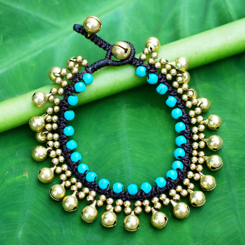 Handcrafted Turquoise Blue Calcite and Brass Bracelet 'Summer Bells'