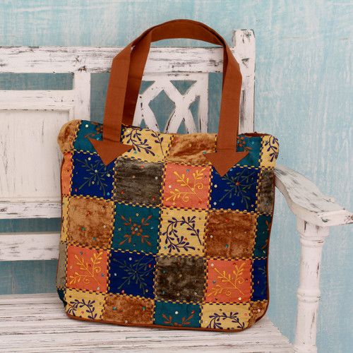 Colorful Applique Sequin Tote Bag with Machine Embroidery 'Fantasy Garden'