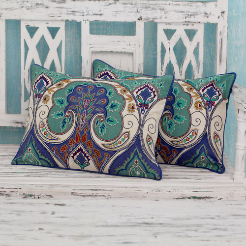Multicolored Embroidered Cushion Covers from India (pair) 'Autumn in Delhi'