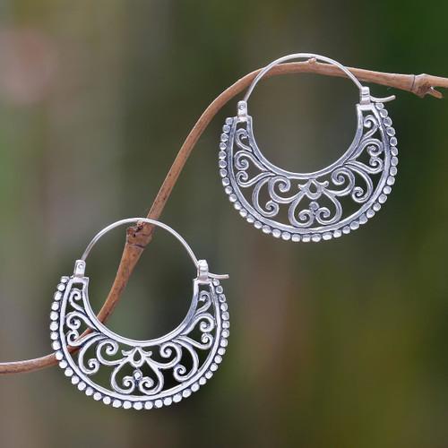 Balinese Style Sterling Silver Crescent Hoop Earrings 'Moonlit Garden'