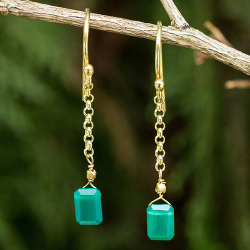 Thai Artisan Crafted 24k Gold Vermeil Green Onyx Earrings 'Living Soul'
