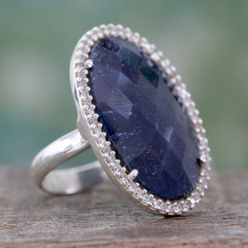 Handcrafted Enhanced Sapphire and CZ Cocktail Ring 'Stunning Sapphire'