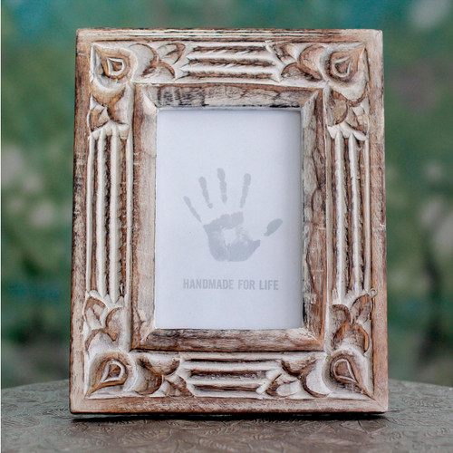 Hand Carved Wooden Photo Frame with Antiqued Finish 'Moradabad Memories'