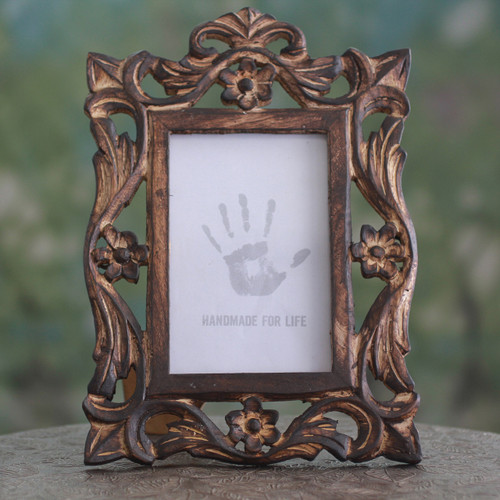 Carved Wood Photo Frame with Floral Motifs from India 'Mughal Grandeur'