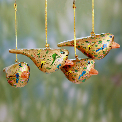 Handcrafted Golden Papier Mache Bird Ornaments (set of 4) 'Peace and Joy'