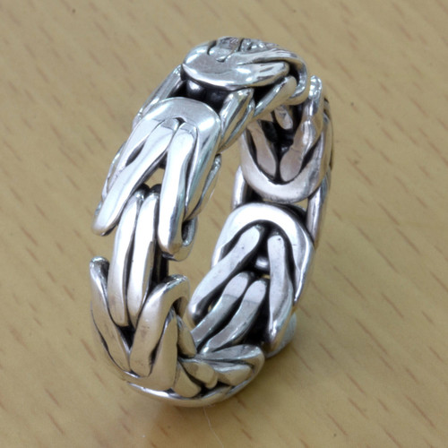 Artisan Borobudur Chain Style Sterling Silver Ring for Men 'Soul of Borobudur'