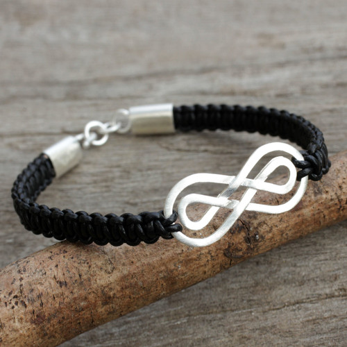 Black Leather Macrame Bracelet with Silver Infinity Pendant 'Double Infinity'