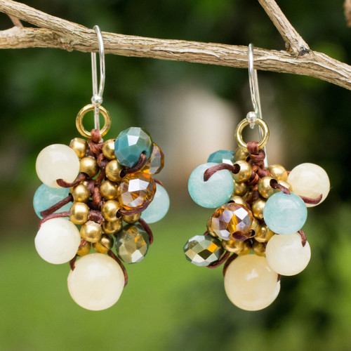Yellow and Blue Quartz Beaded Earrings Knotted by Hand 'Azure Cattlelaya'