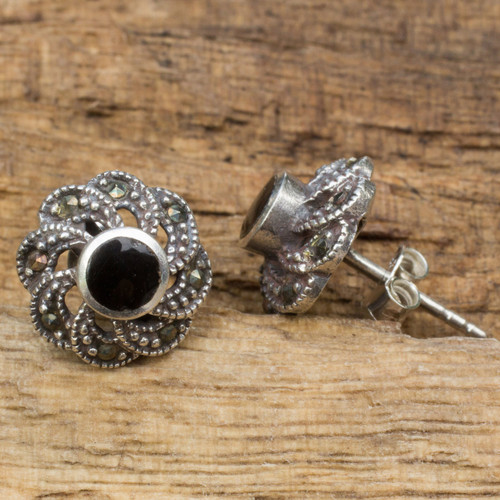Sterling Silver Vintage Earrings with Onyx and Marcasite 'Midnight Blooms'