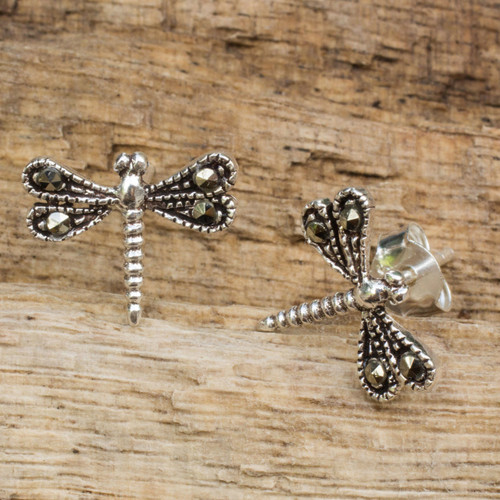 Sterling Silver Artisan Crafted Stud Earrings from Thailand 'Petite Dragonflies'