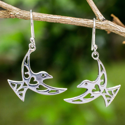 Artisan Crafted Sterling Silver Bird Hook Earrings 'Fly Me Away'