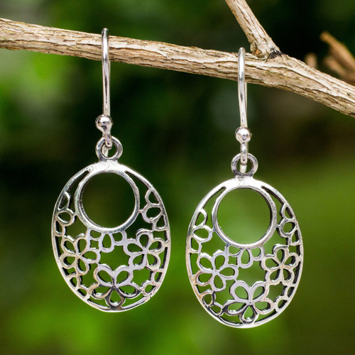 Artisan Crafted Sterling Silver Flower Openwork Earrings 'Blooming Trance'