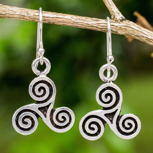 Handcrafted Celtic Spiral Shape Sterling Silver Earrings 'Celtic Tri Spiral'
