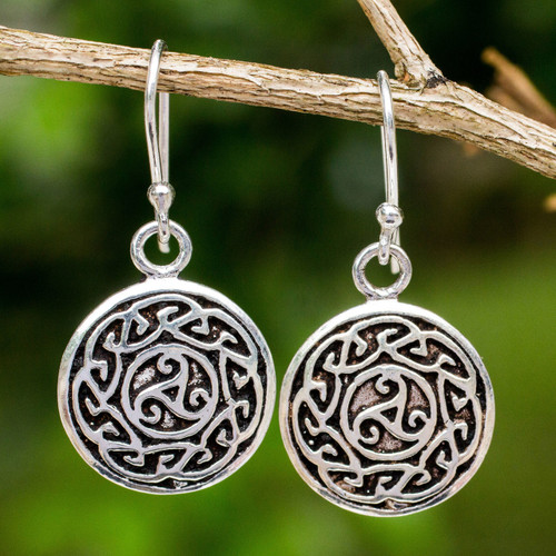 Free Trade Celtic Motif Round Silver Earrings from Thailand 'Sister Goddess'